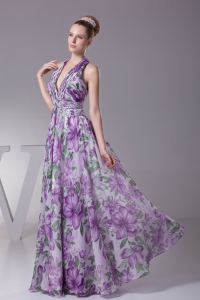 Beading Ruching Halter Long Prom Dress