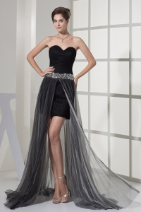 Beading Sweetheart High-low Black Prom Dress