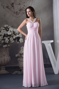 Beautiful Beading V-neck long Pink Empire 2013 Prom Dress