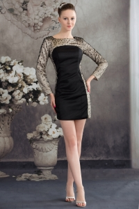 Black Scoop Column Short 2013 Prom Dress with Long Sleeves