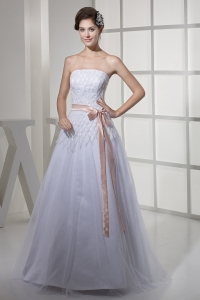 Brand New Strapless Sash A-line / Princess Wedding Dress
