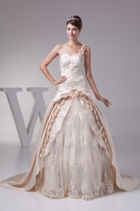 Champagne One Shoulder Hand Made Flowers Embroidery Wedding Dress