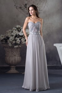 Discount Beading Empire Sweetheart long Grey 2013 Prom Dress