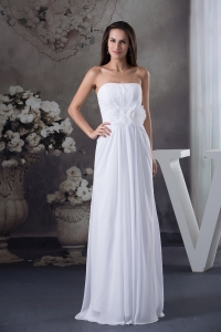 Elegant Empire Strapless Hand Made Flowers long White Prom Dress