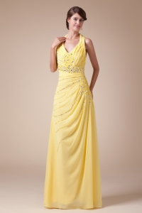 Halter Top Long Latest Empire Beading Prom Dress