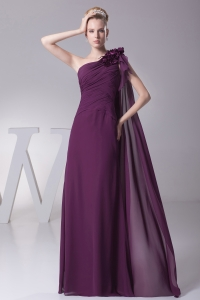 Hand Made Flower One Shoulder Long Watteau Train Prom Dress