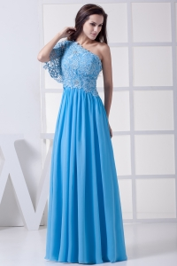 Lace One Shoulder Long Baby Blue Prom Dress