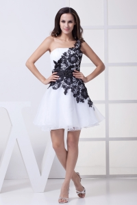 Lace One Shoulder Mini-length White Prom Dress
