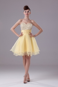 Light Yellow Sweetheart Knee-length Beading Prom Dress