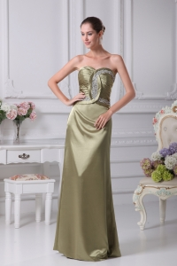 Olive Green Sweetheart Beading Prom Dress