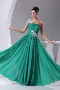 One Shoulder Green Appliques Empire Long Prom Dress