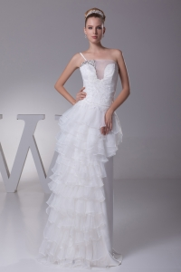 Ruffled Layers One Shoulder long Column Wedding Dress