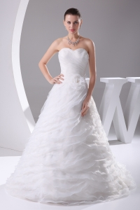 Ruffles Layered Organza Court Train Sweetheart A-Line Wedding Dress