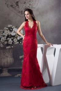 Sexy Appliques Red Halter Column long Prom Dress for 2013