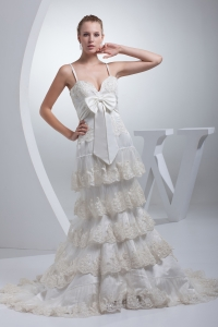Spaghetti Straps Bow A-line Ruffled Layers Wedding Dress