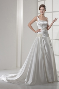 Square Neck Princess Appliques Court Train Wedding Dress