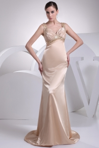 Straps Champagne Beading Column Brush Train Prom Dress
