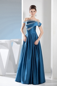 Teal Empire Off the Shoulder long Beading Prom Dress