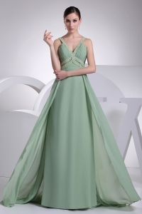 V-neck Beading Brush Train Apple Green Prom Dress
