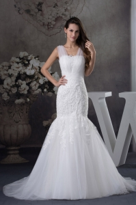 V-neck Mermaid Lace Brush Train Wedding Dress