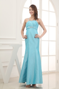 2013 Spaghetti Straps Beading Ankle-length Bridesmaid Dress