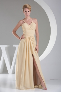 2013 Trendy High Slit V-neck Long Empire Prom Dress