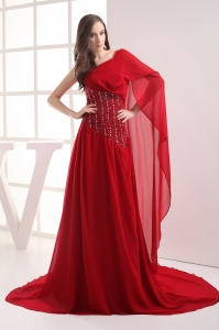 A-line Red One Shoulder Beading Chiffon Prom Dress