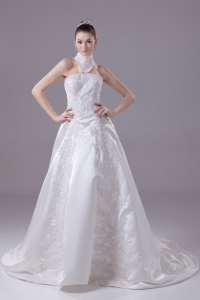 Appliques High Neck Taffeta Wedding Dress with Court Train