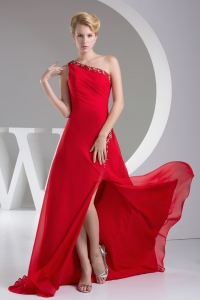 Appliques One Shoulder Red Classical Column Prom / Evening Dress