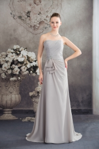 Beaded Strapless Empire Prom Dress With Brush For 2013 Spring