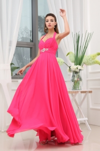 Beading Ruching Hot Pink Halter Long Prom Dress