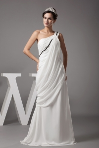 Beading and Ruching One Shoulder Column Wedding Dress