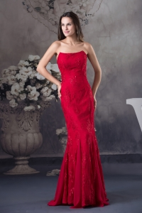 Cheap Appliques Mermaid Strapless long Red 2013 Prom Dress