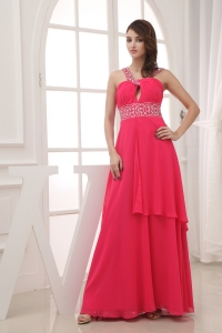 Elegant Empire V-neck Long Prom Dress For 2013 Custom Made