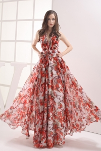 Multi-color Empire Halter Beading Ruching Prom Dress