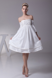 Off The Shoulder 3/4 Sleeves Knee-length Wedding Dress