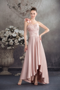 One Shoulder Hand Made Flowers High-low Prom Dress