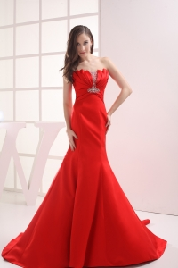 Red Mermaid Strapless Beading Ruching Wedding Dress