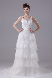 Ruffled Layers Lace Brush Train Column Scoop Wedding Dress