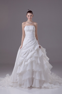 Ruffled Layers Strapless Chapel Train Princess Wedding Dress