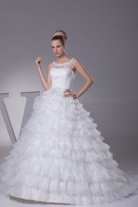 Ruffles and Appliques A-Line Court Train Scoop Wedding Dress