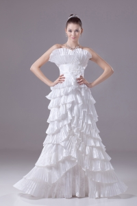 Ruffles and Pleat Strapless Column White long Wedding Dress