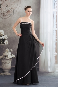 Simple Spaghetti Straps Black Long Prom Dress