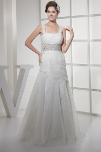 Square Neck Beautiful Beading Long Princess Wedding Dress