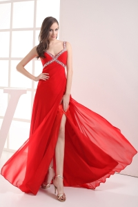 Straps High Slit Empire Beading Long Red Prom Dress