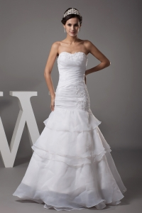 Sweetheart Long Mermaid Appliques Wedding Dress For Custom Made