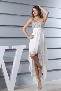 White Beading Sweetheart High-low Prom Dress