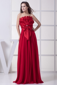 Wine Red Strapless Bowknot Empire Long Prom Dress