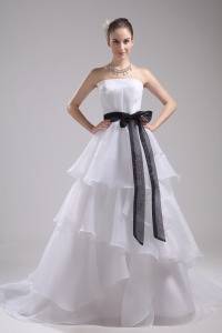 A-Line Sash Strapless Court Train Cheap Wedding Dress