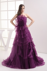 A-line Purple Strapless Ruffles Organza Prom Dress
